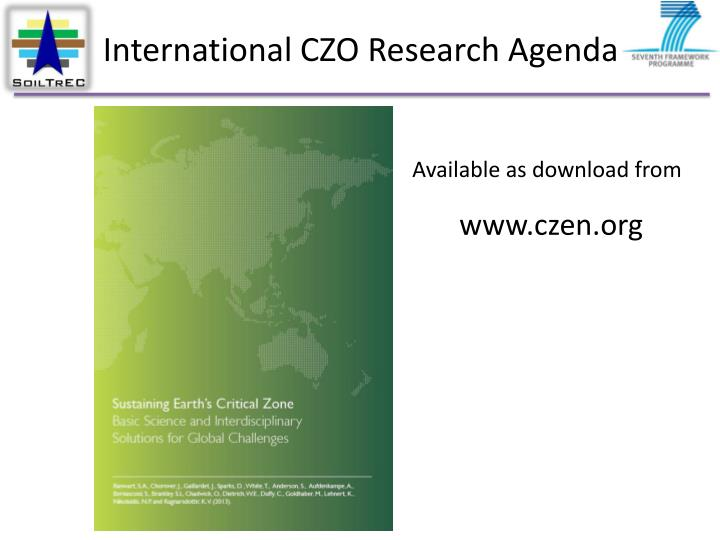 International CZO Research Agenda