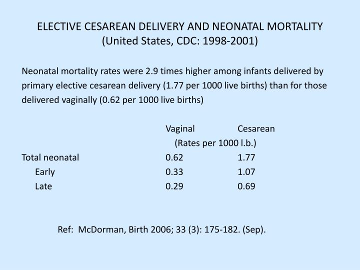 ELECTIVE CESAREAN DELIVERY AND NEONATAL MORTALITY