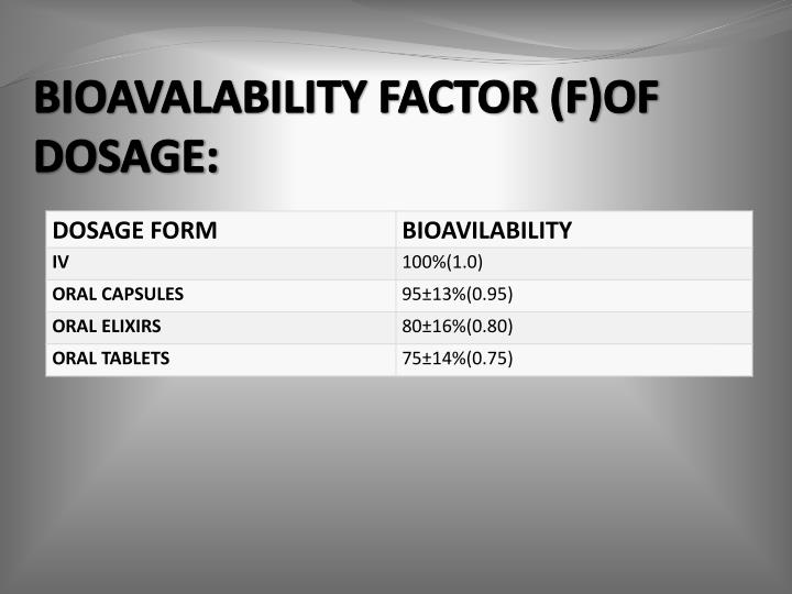 BIOAVALABILITY FACTOR (F)OF DOSAGE: