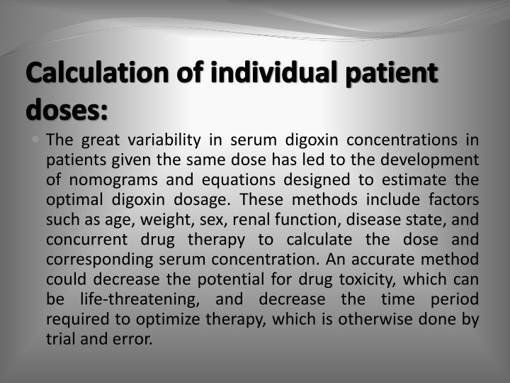 Calculation of individual patient doses: