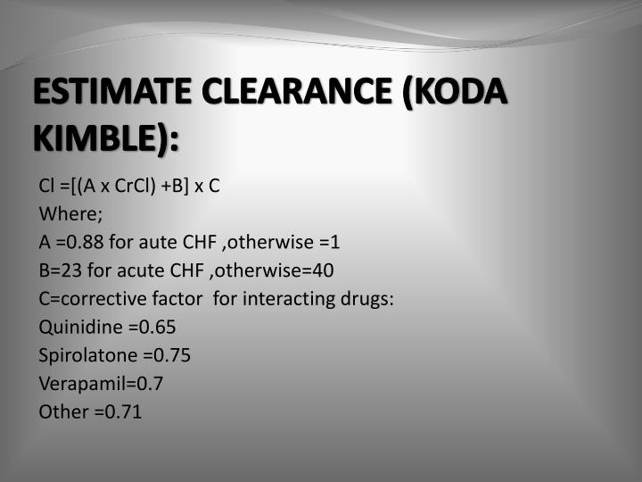 ESTIMATE CLEARANCE (KODA KIMBLE):