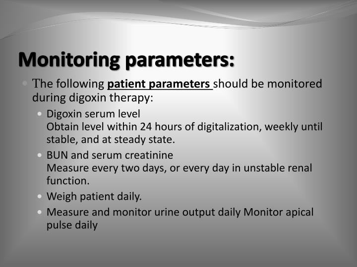 Monitoring parameters: