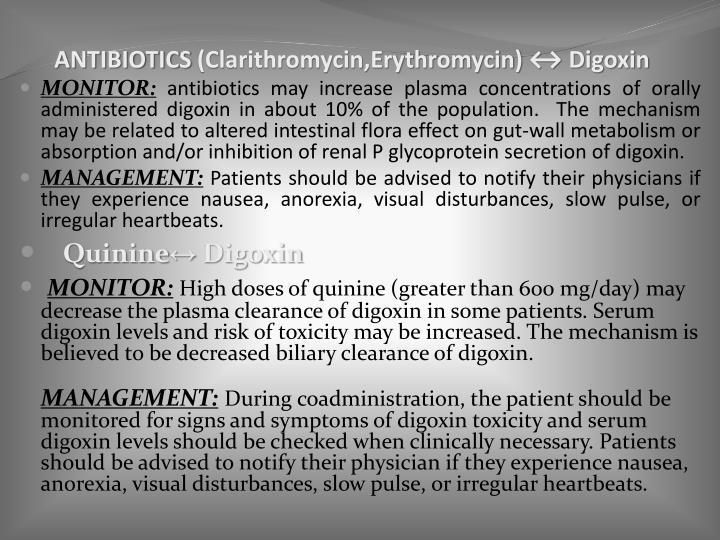 ANTIBIOTICS (Clarithromycin,Erythromycin) ↔ Digoxin