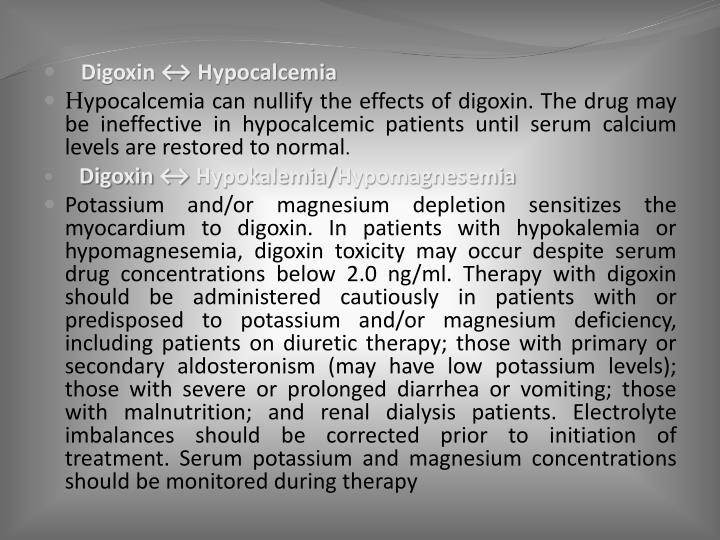 Digoxin ↔ Hypocalcemia