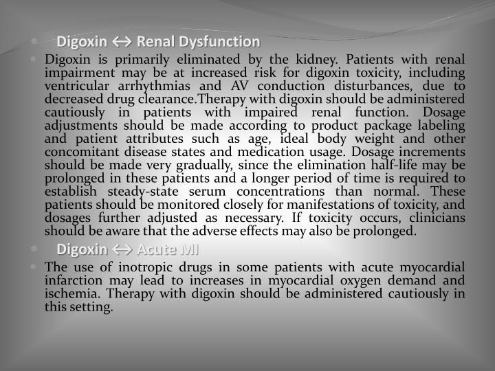 Digoxin ↔ Renal Dysfunction
