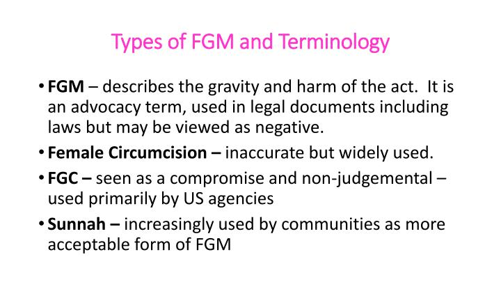 Types of FGM and Terminology