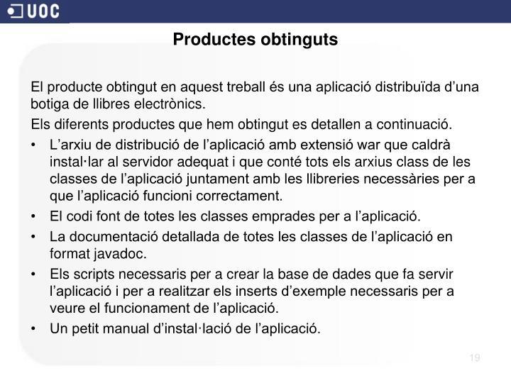 Productes obtinguts