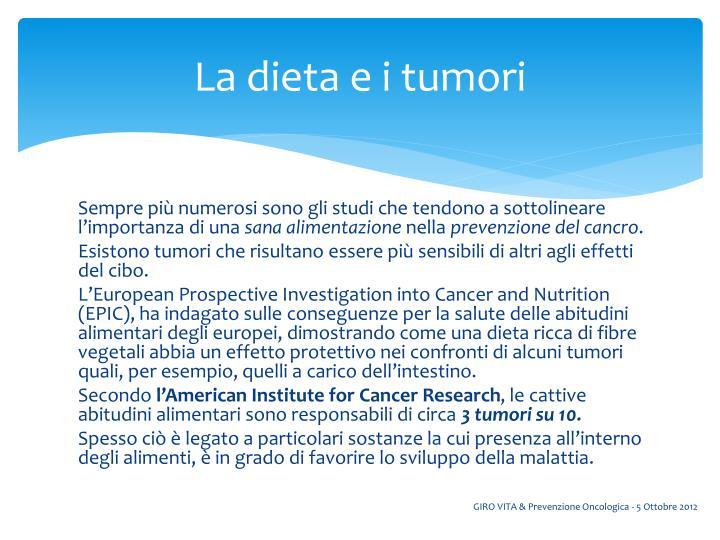 La dieta e i tumori