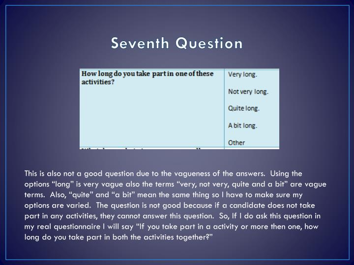 Seventh Question
