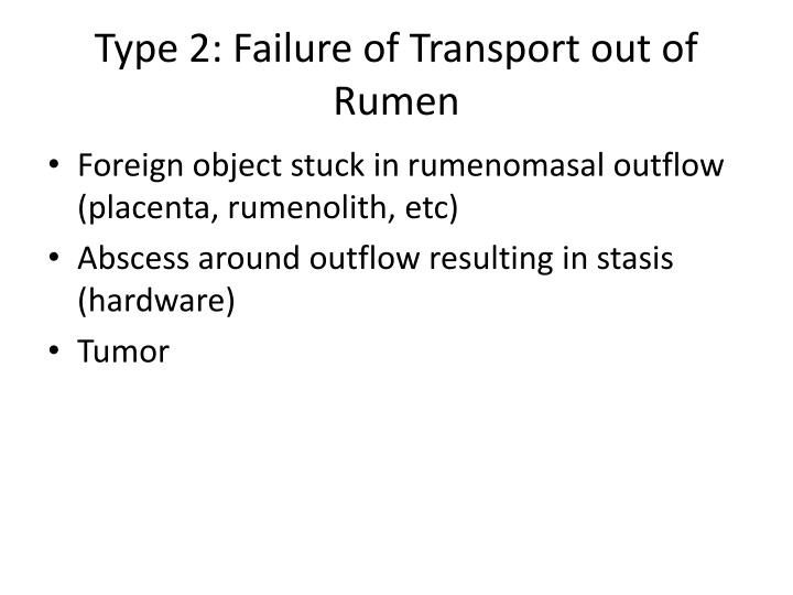 Type 2: Failure of Transport out of Rumen