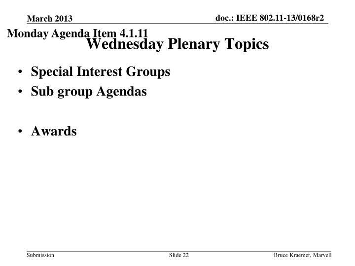 Monday Agenda Item