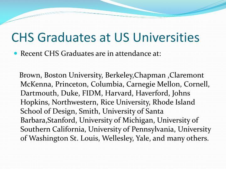 CHS Graduates at US Universities
