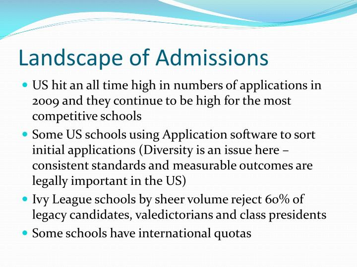 Landscape of Admissions