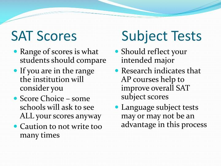 SAT Scores Subject Tests