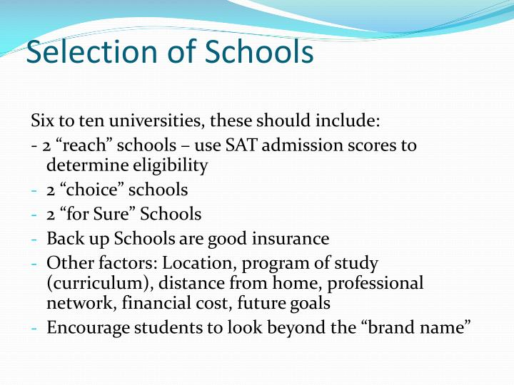 Selection of Schools