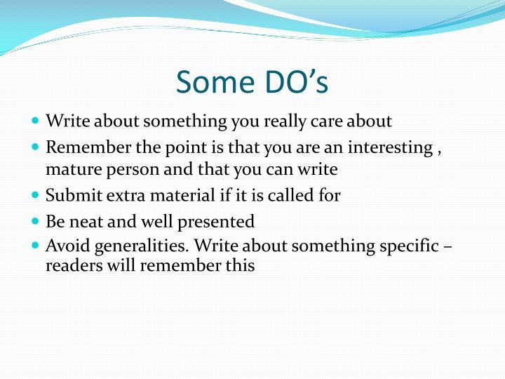 Some DO's