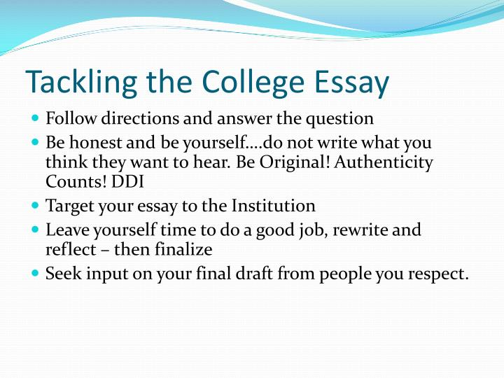 Tackling the College Essay