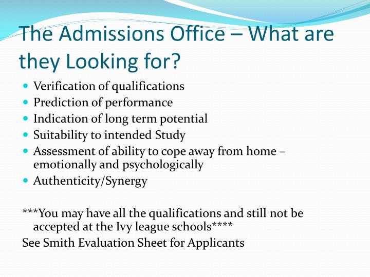 The Admissions Office – What are they Looking for?