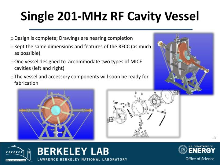Single 201-MHz RF Cavity Vessel