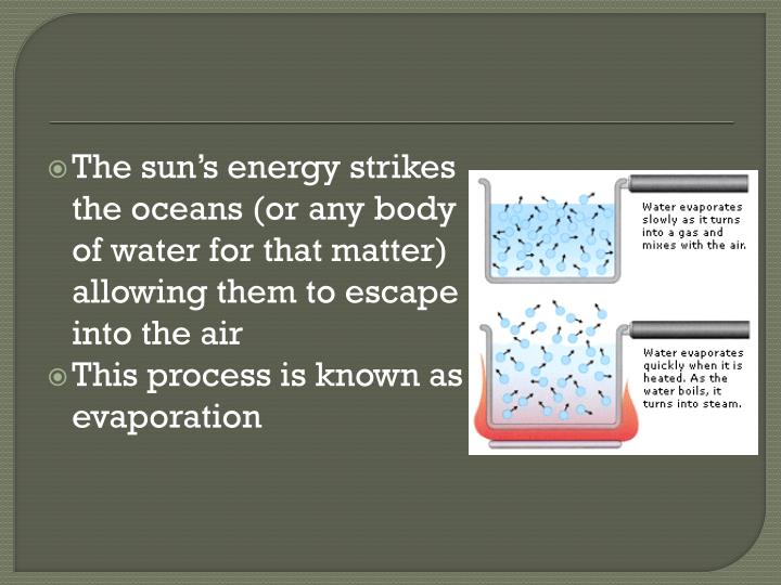 The sun's energy strikes the oceans (or any body of water for that matter) allowing them to escape into the air