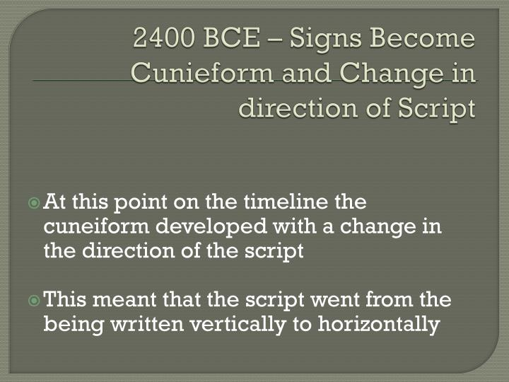 2400 BCE – Signs Become