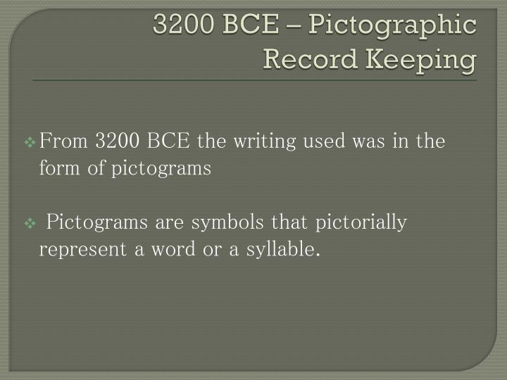 3200 BCE – Pictographic