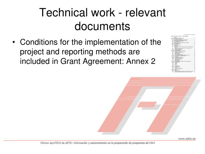 Technical work - relevant documents