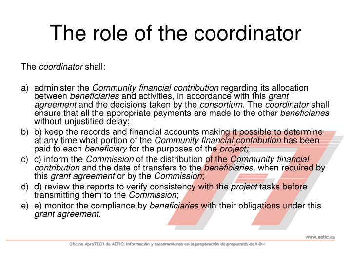 The role of the coordinator