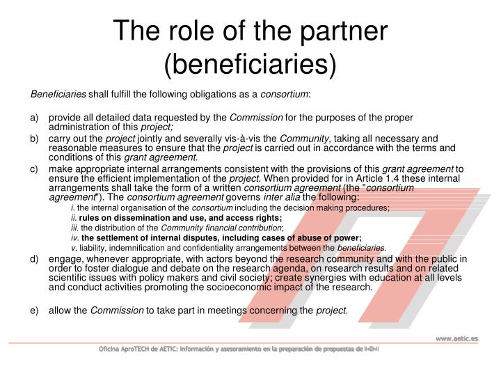 The role of the partner (beneficiaries)