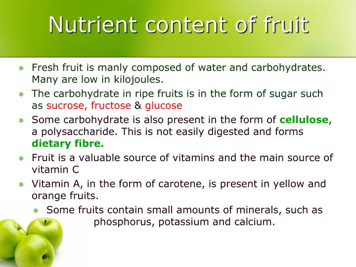 Nutrient content of fruit