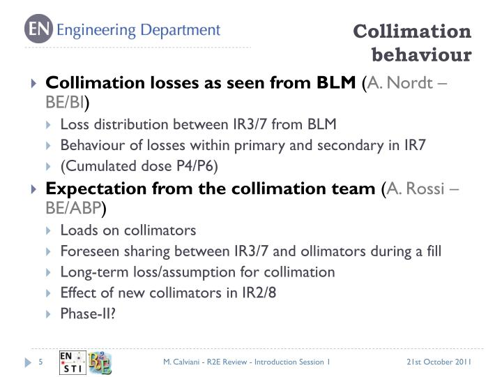 Collimation behaviour