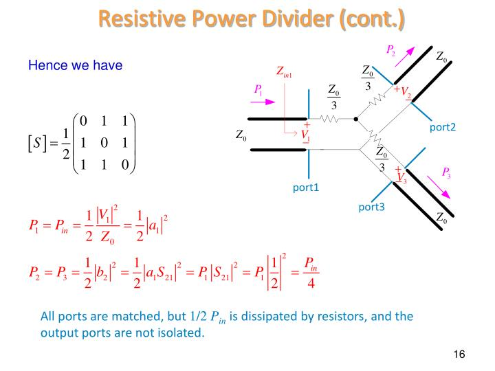 Resistive Power Divider (cont.)