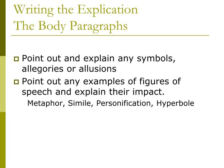 Writing the Explication