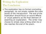 writing the explication the conclusion