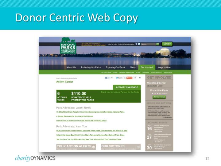 Donor Centric Web Copy