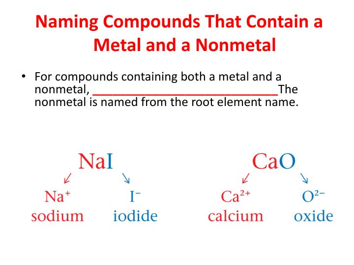 Binary compounds containing metal and nonmetal