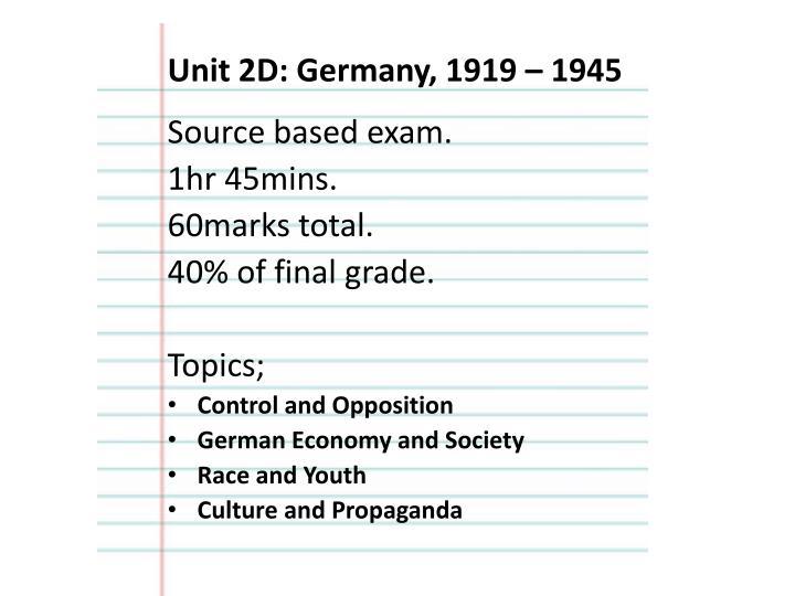 Unit 2D: Germany, 1919 – 1945