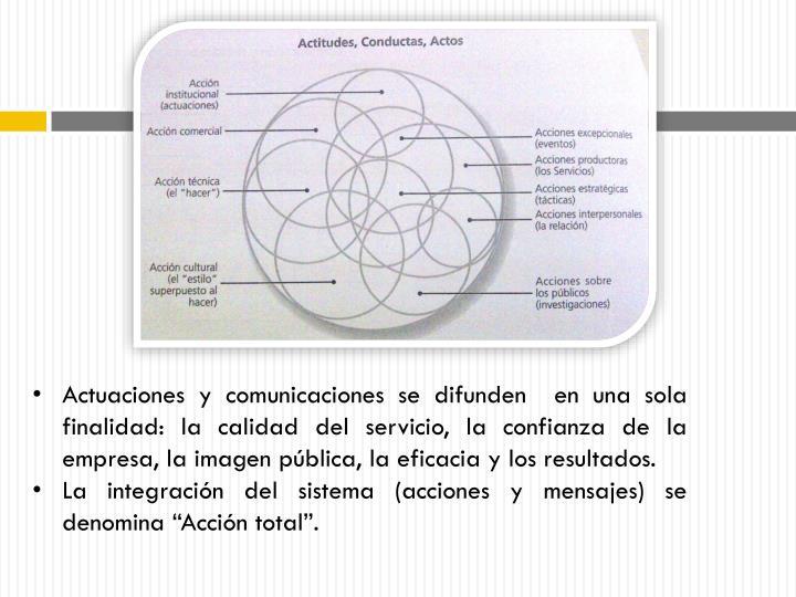 Actuaciones y comunicaciones se difunden  en una sola finalidad: la calidad del servicio, la confianza de la empresa, la imagen pública, la eficacia y los resultados.