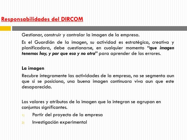 Responsabilidades del DIRCOM