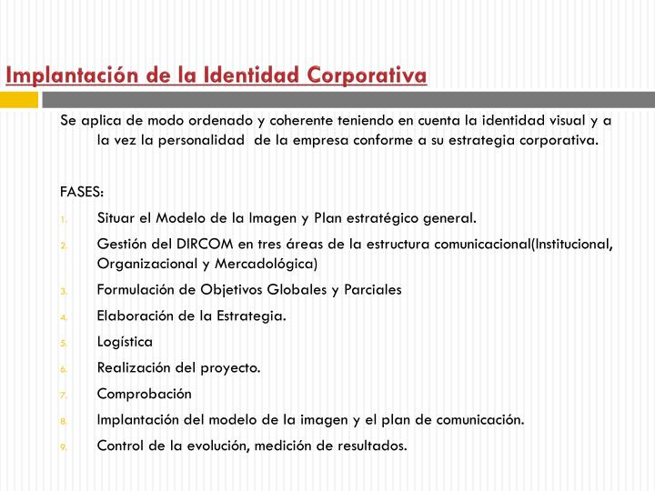 Implantacin de la Identidad Corporativa
