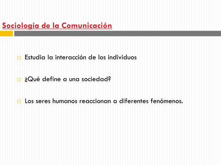 Sociología de la Comunicación