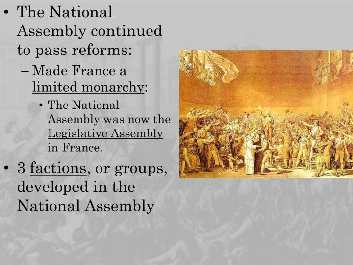 The National Assembly continued to pass reforms: