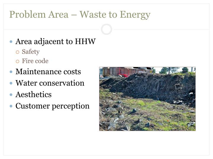 Problem Area – Waste to Energy