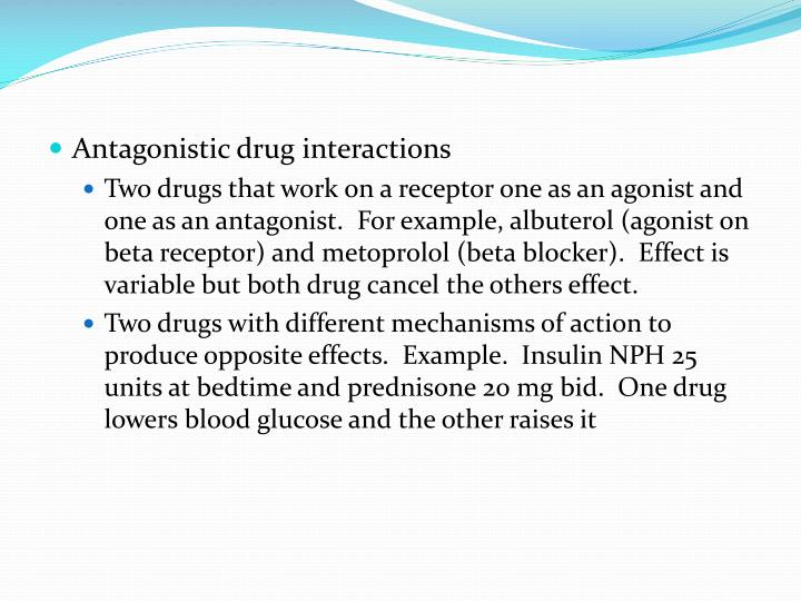 Antagonistic drug interactions