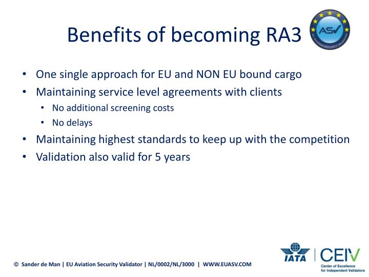 Benefits of becoming RA3