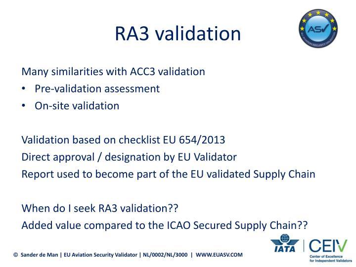 RA3 validation