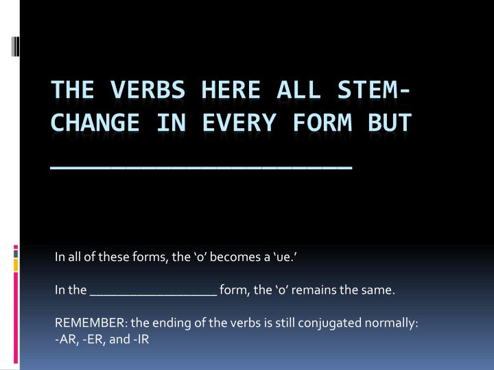 The verbs here all stem change in every form but
