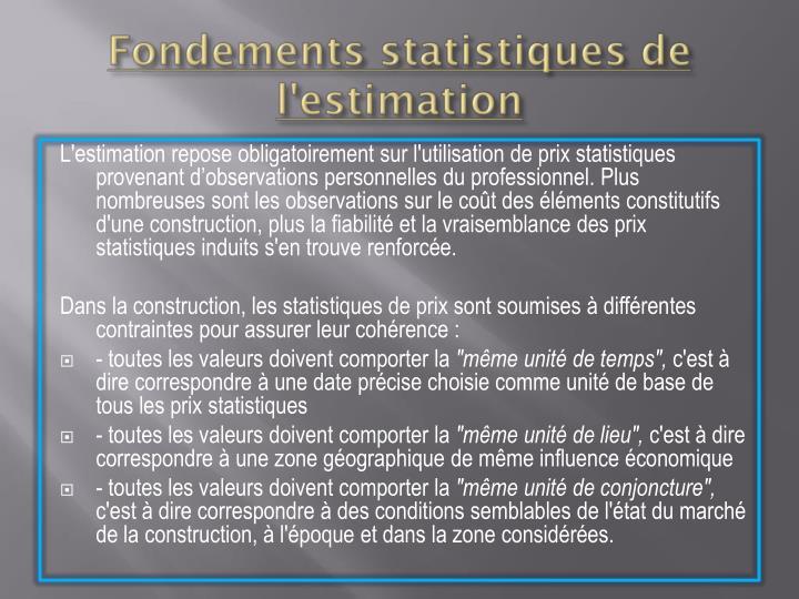 Fondements statistiques de l'estimation