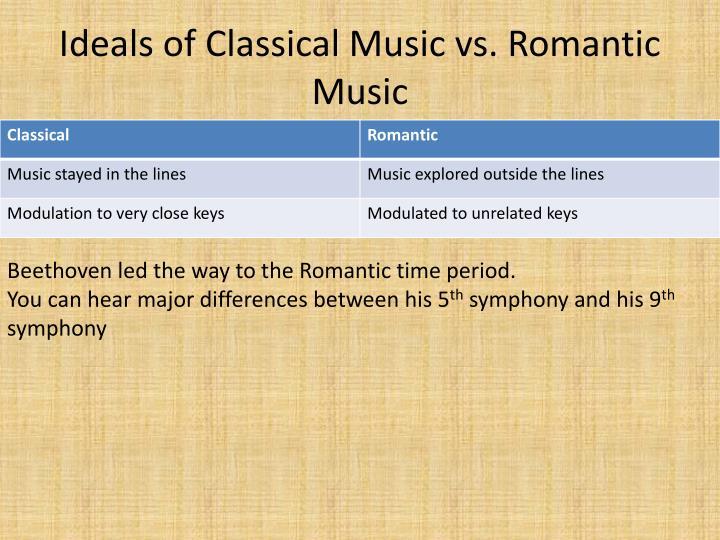 Ideals of Classical Music vs. Romantic Music