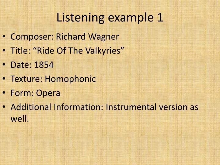 Listening example 1
